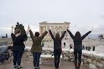 Katelyn, Tina, Lauren und Gianna auf dem Akropolis.
