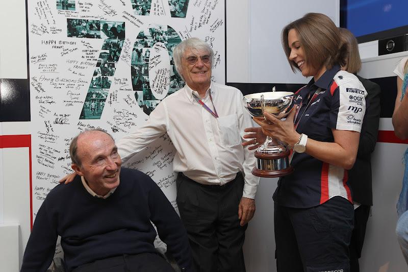Фрэнк Уильямс Берни Экклстоун Клэр Уильямс на Гран-при Испании 2012