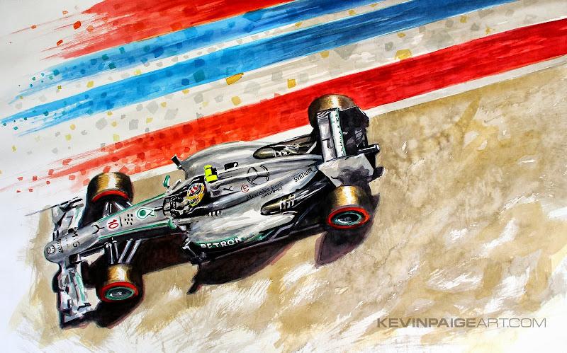 Льюис Хэмилтон Mercedes 2013 - рисунок Kevin Paige Art