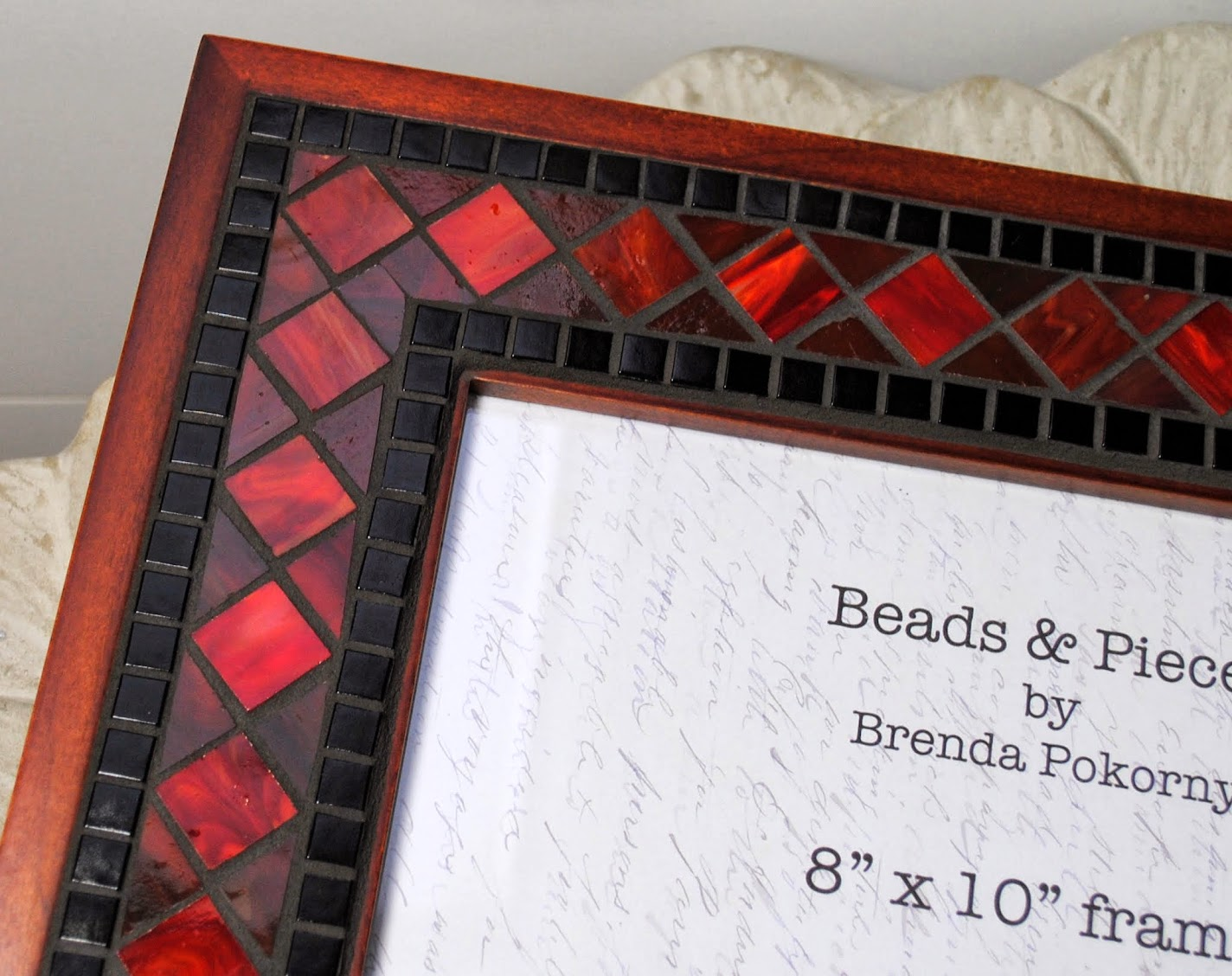 "Maroon & Black 8"" x 10"" Mosaic Photo Frame MOF1389"