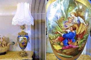 Красивая настольная лампа. Севрский фарфор. Франция 19-й век. Расписной фарфор, позолоченная бронза. Высота 110 см. 3500 евро.