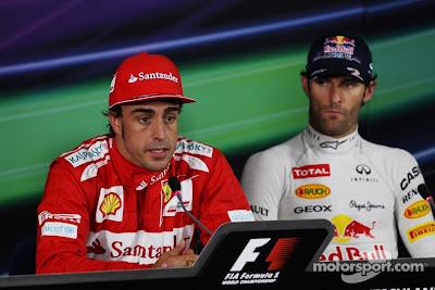 Фернандо Алонсо и Марк Уэббер на пресс-конференции после квалификации на Гран-при Германии 2012