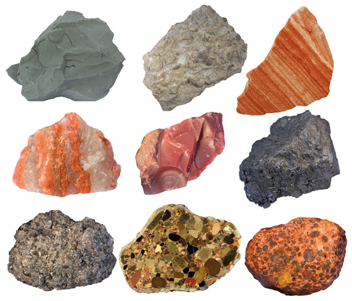 Collage of sedimentary rocks
