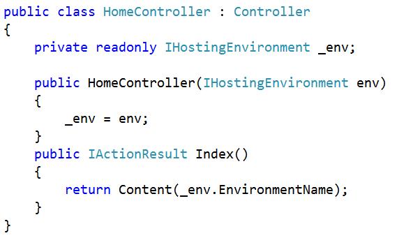 Uso de IHostingEnvironment para obtener el entorno de ejecución
