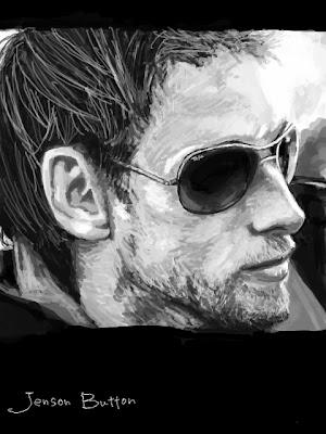 черно-белый рисунок Дженсона Баттона в темных очках