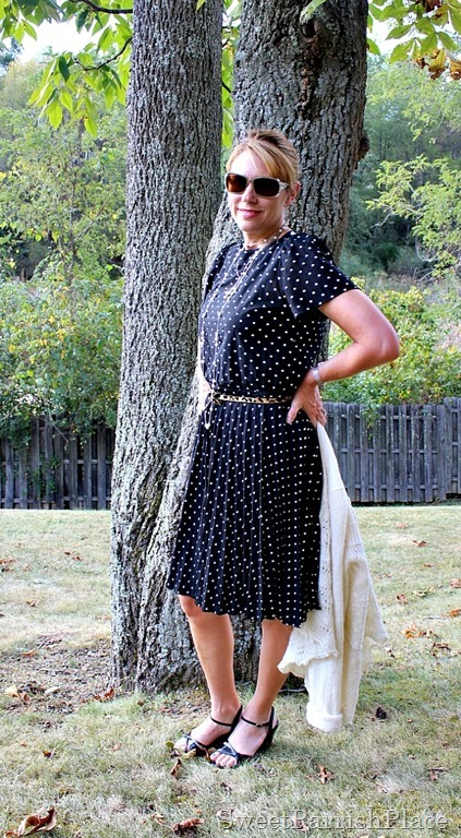 vintage-polka-dot-dress-leopard-belt-black-sandals1