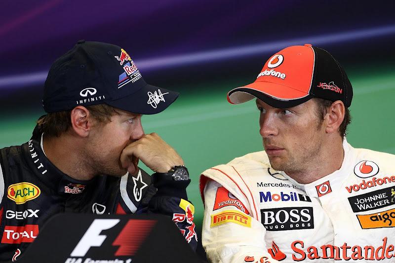 Себастьян Феттель и Дженсон Баттон на пресс-конференции Гран-при Бельгии 2011 после гонки в Спа