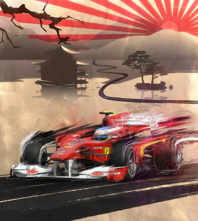 промо-иллюстрация Adolfo Correa Фернандо Алонсо на Ferrari на Сузуке 2011