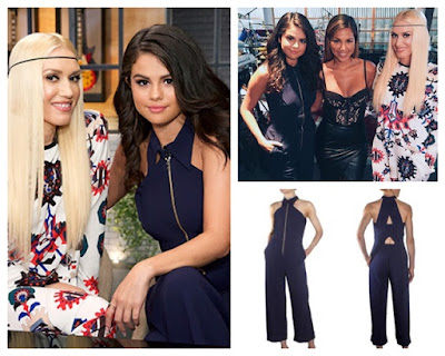 Selena Gomez joins Gwen Stefani on The Voice wearing Navy Blue Roland Mouret Zipper Front Collar Jumpsuit