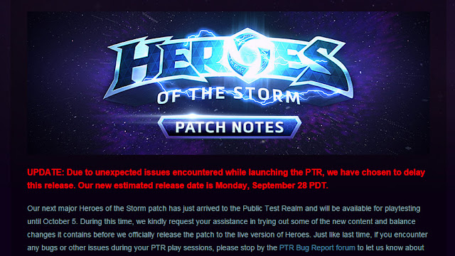 Heroes of the Storm PTR Patch Notes - September 24, 2015