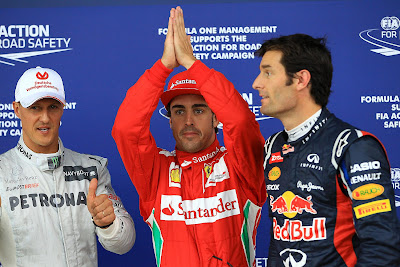 Михаэль Шумахер Фернандо Алонсо Марк Уэббер после квалификации на Гран-при Великобритании 2012