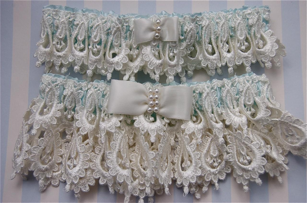 Ivory Blue Bride Garter Set. From GarterLady