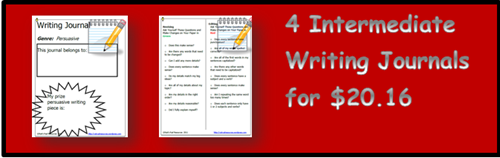 Bundle of 4 writing journals for the intermediate grades on sale on August 19, 2015 for just $20.16 from Raki's Rad Resources on Teachers Pay Teachers