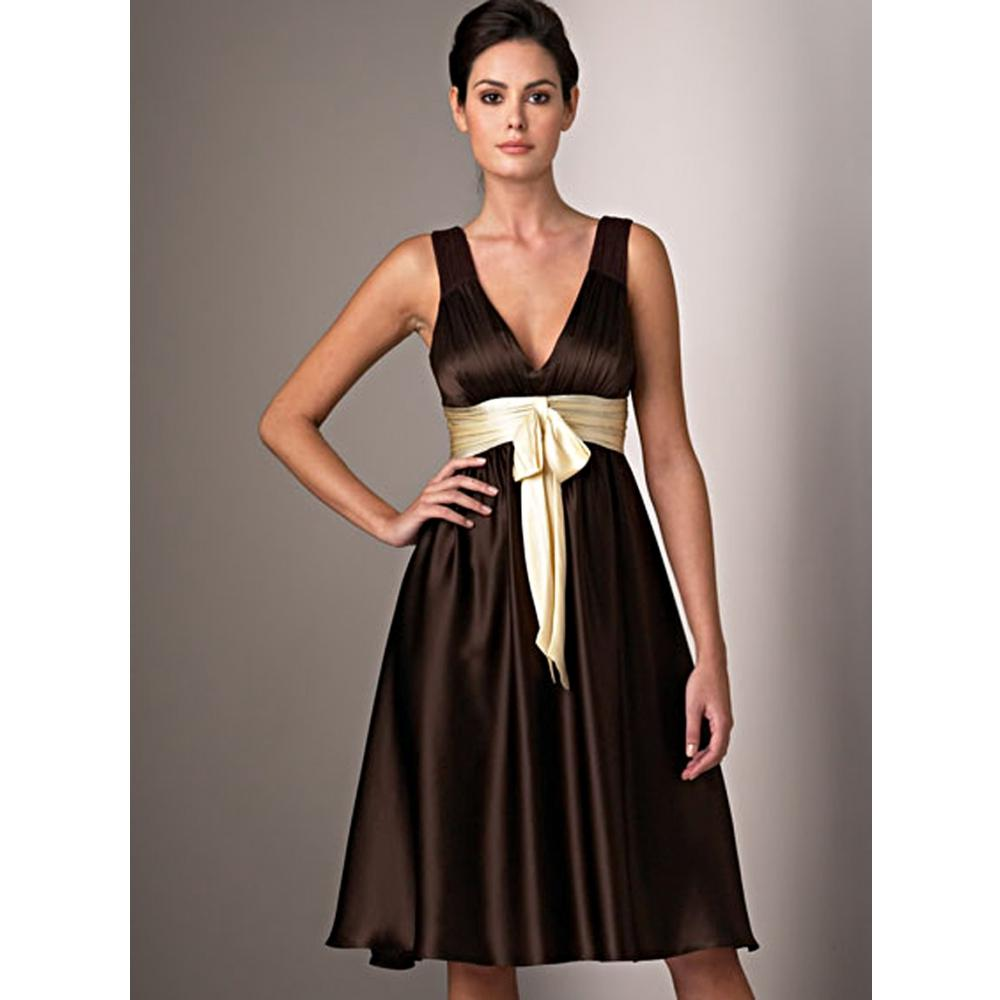 Brown gold sash satin