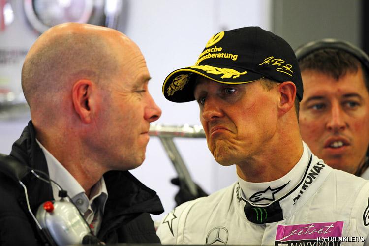 Джок Клиа и Михаэль Шумахер на Гран-при Бельгии 2011 в Спа