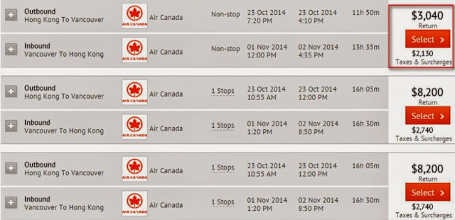 aircanada HK to Vancouver