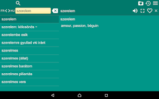 Screenshot of French Hungarian Dictionary Fr