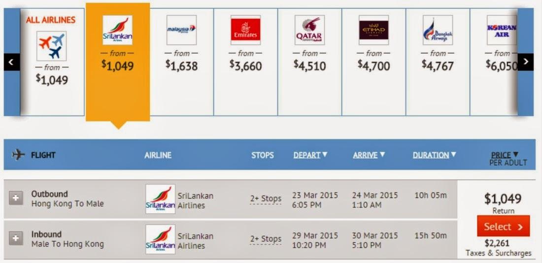 香港往來馬爾代夫$1,049(連稅$3,310)