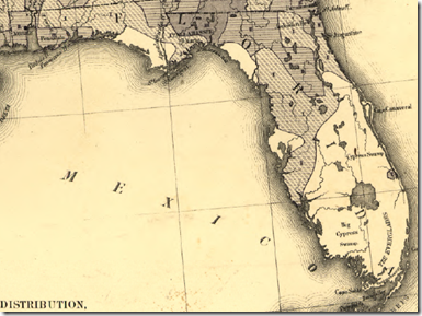 Detail of Florida from Francis A. Walker's 1870 population density map of the United States.