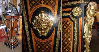 Большой шикарный постамент. ок.1870 г. Позолоченная бронза, мрамор, маркетри. Высота 140 см. 13000 евро.