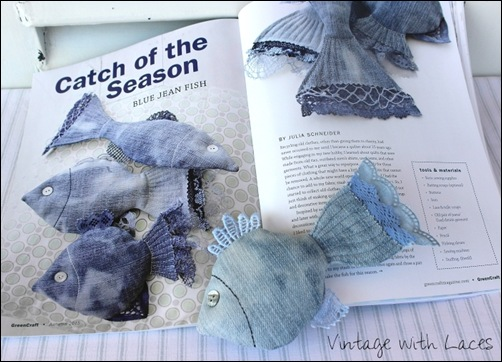 Upcycled Denim Fish by Vintage with Laces in GreenCraft Magazine Fall 2015