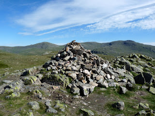 Middle Fell Summit cairn with Haycock and Red Pike