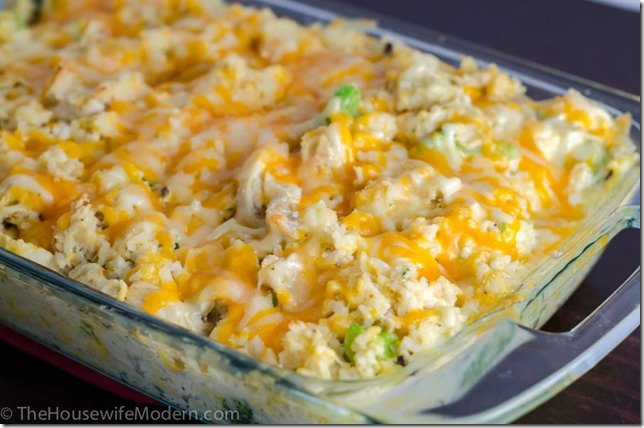 Cheesy Chicken Broccoli Casserole (option to be a freezer meal)