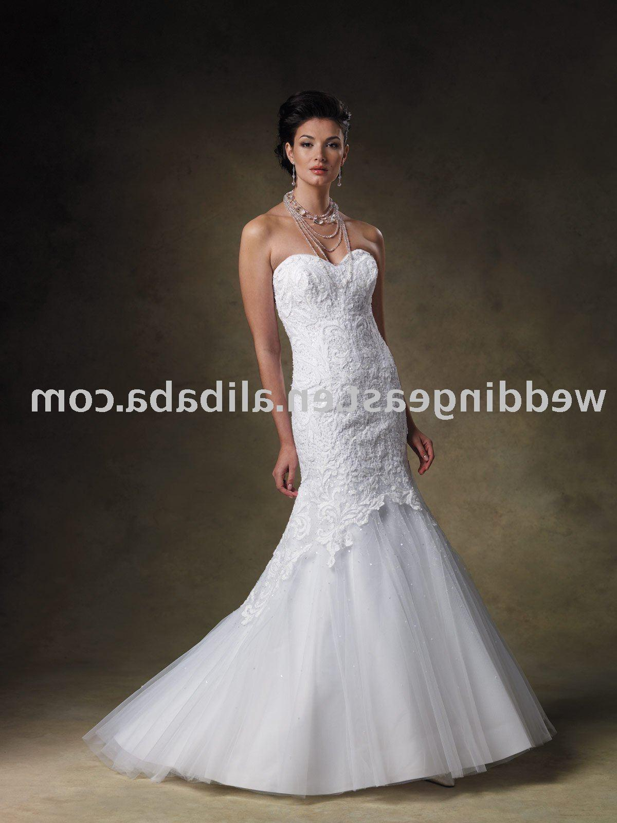 See larger image: A-line strapless white lace wedding gown-sqsm121
