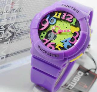 Jam Tangan Digitec purple rubber  ladies Original
