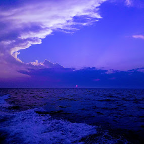Sunset Fishing  by Chris Gray - Landscapes Sunsets & Sunrises ( water, montauk, sunset, ocean, fishing,  )