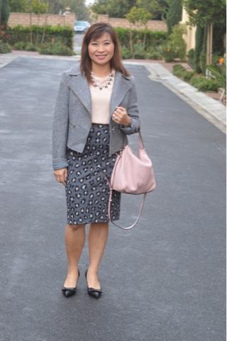 Loft Animal spot pencil skirt, fashion over 40