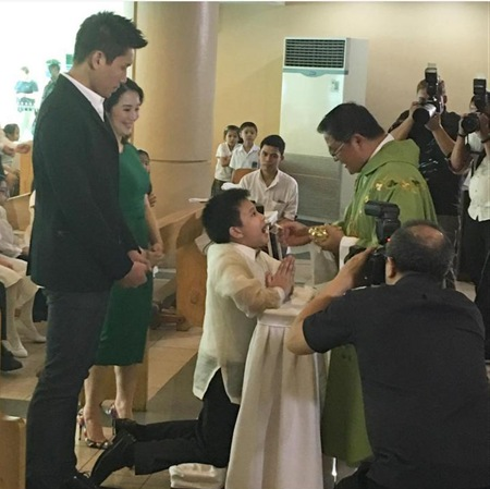 James Yap and Kris Aquino at Bimby's 1st Holy Communion