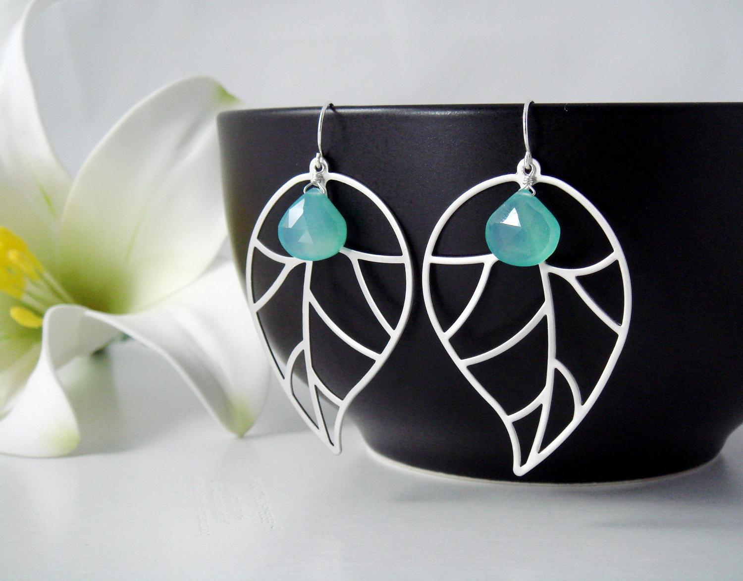 PERSONALIZED - Modern Big Leaf with Aqua Blue Chalcedony on STERLING SILVER