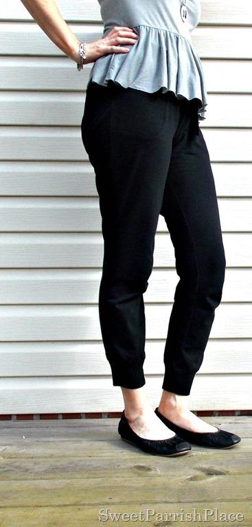 black joggers, grey peplum shirt, black flats2