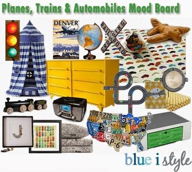 blue i style - PlanesTrainsAutomobilesBigBoyRoomMoodBoard