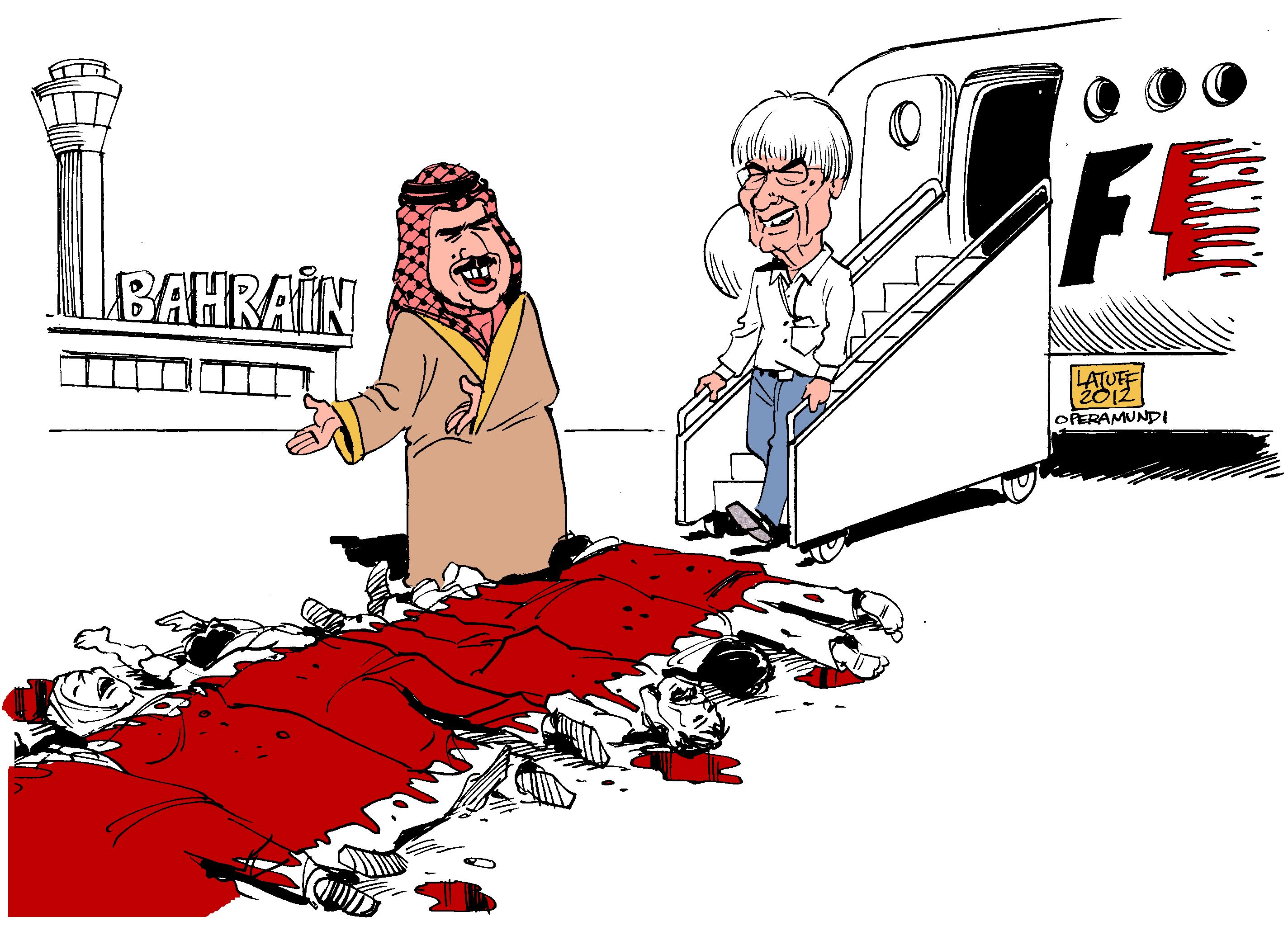 Берни Экклстоун прибывает в Бахрейн - карикатура Carlos Latuff на тему Гран-при Бахрейна 2012