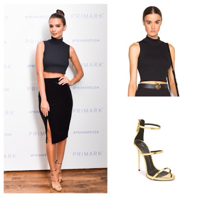 Emily Ratajkowski Emrate at Primark Launch in Mock Turtleneck Crop Top Pencil Skirt and Gold Triple Strap Sandals