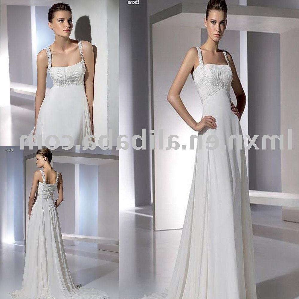 White spaghetti strap wedding dress
