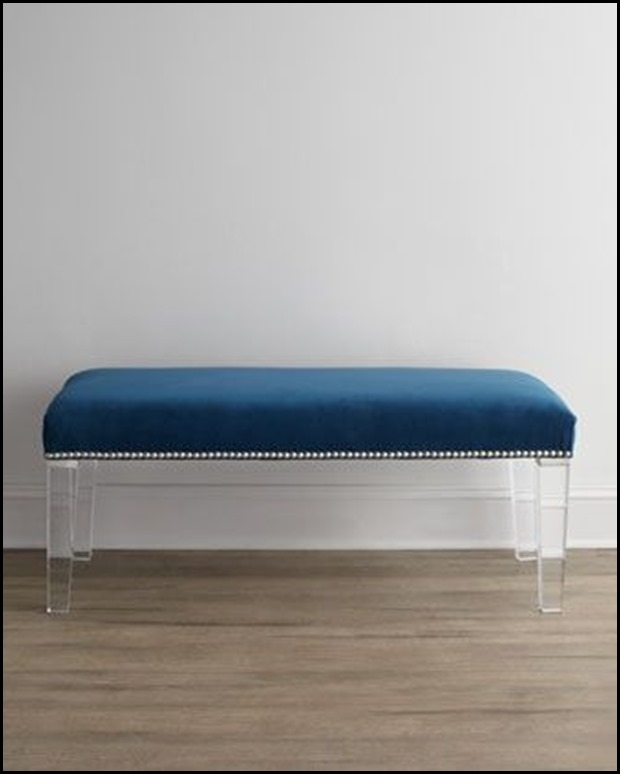 bench lucite legs in navy