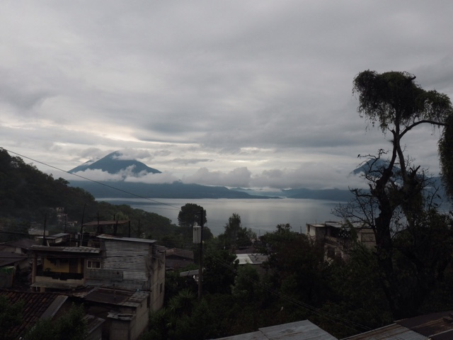 View of Lake Atitlán and volcanoes from San Jorge La Laguna, Guatemala