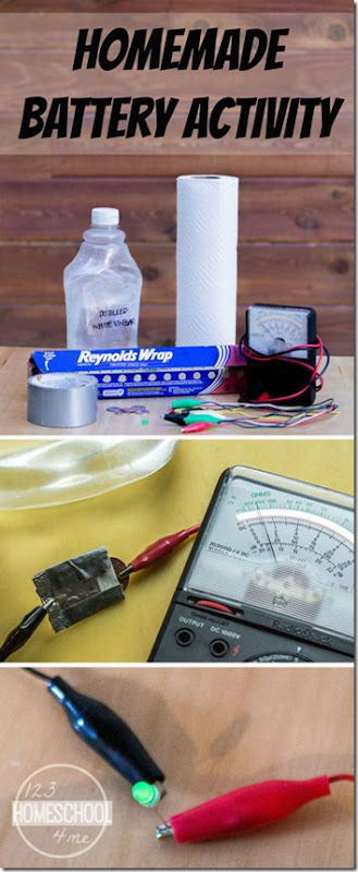 This amazing science project will allow kids to learn about electricity by making a homemade battery with a few simple materials. This is great for homeschool, science activity, and afterschool activity for 1st grade, 2nd grade, 3rd grade, 4th grade, 5th grade, 6th grad,e 7th grade, and 8th grade students.