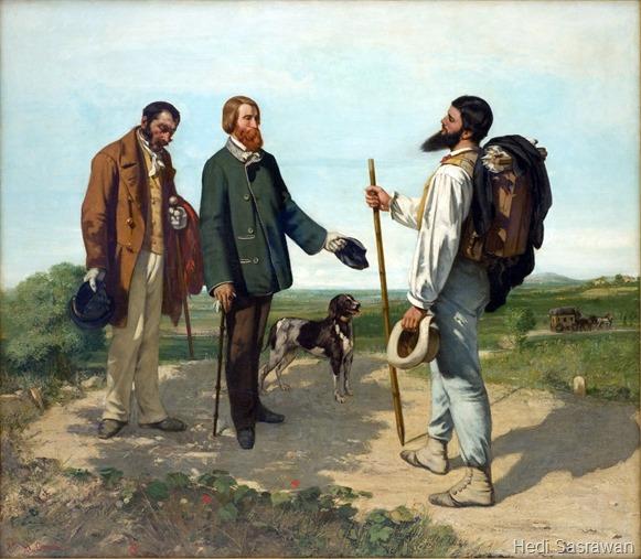 """Salah satu contoh lukisan aliran naturalisme: """"Bonjour, Monsieur Courbet"""" oleh Gustave Courbet pada tahun 1854"""