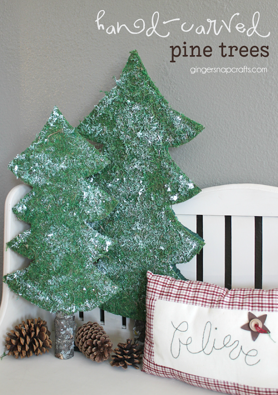hand-carved pine trees at GingerSnapCrafts.com   #makeitfuncrafts #sponsored