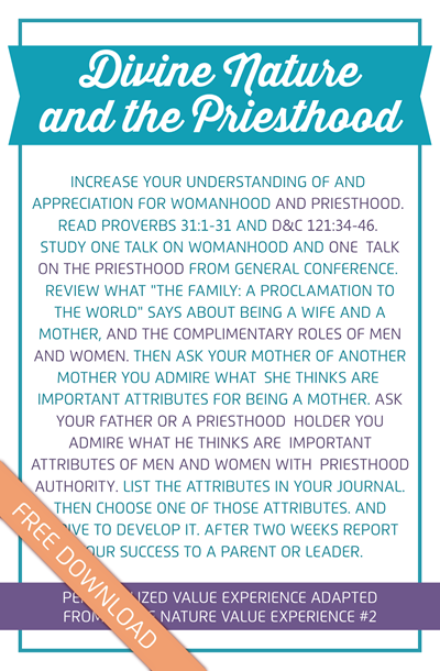 Divine Nature and the Priesthood Value Experience Printable