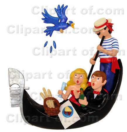 Clay sculpture of couple on a gondola ride Clipart Picture. THIS IMAGE IS NOT FREE! You are only allowed to use this image after purchasing a royalty-free license from CLIPART OF. Buy this image at http://www.clipartof.com/details/clipart/12071.html