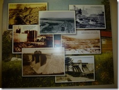 Info boards about building the dam