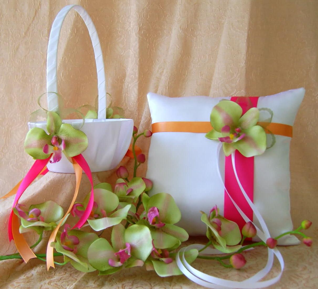 Hot Pink & Orange Wedding Colors, Green Orchids Flower girl basket & ring