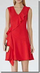 Reiss Odessa asymmetric ruffle detail dress