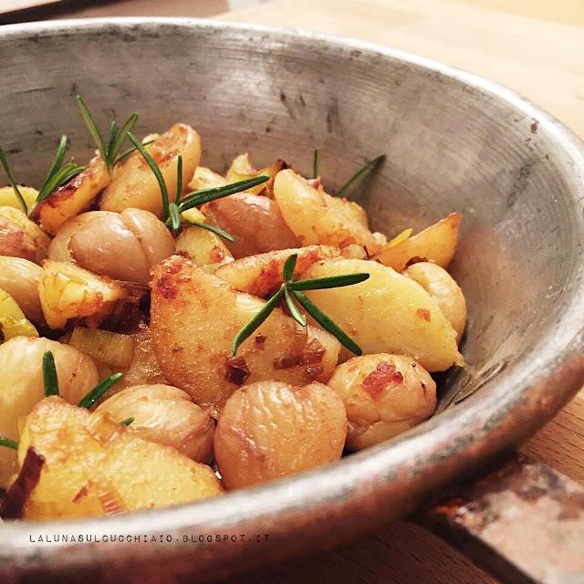 patate e castagne in padella