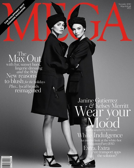 Janine Gutierrez and Kelsey Merritt - Mega November 2015 digital edition cover